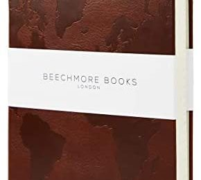 Travel Planner by Beechmore Books of London   Large 5.75″ x 8.25″   Vegan Leather Hardcover Notebook with Travel Checklists and 8 Trip Sections   Thick 120gsm Lined Paper   Gift Box   Chestnut Brown
