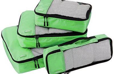 Amazon Basics 4 Piece Packing Travel Organizer Cubes Set, Green