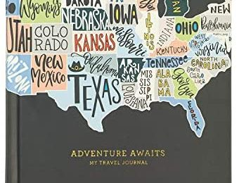 """C.R. Gibson """"Adventures Awaits"""" Travel Journal and Guided Planner, 6.5"""" W x 8"""" L, 200 Pages"""