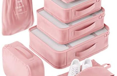 Packing Cubes Set for Suitcases Luggage Organizer Weekender Travel Essentials Classic & Elegant Design Gift Choice (Pink Coral)