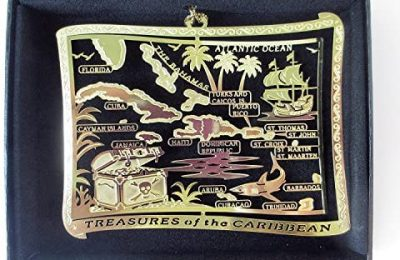 I Love My State Caribbean Islands Brass Christmas Ornament Black Leatherette Gift Box