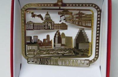 Nations Treasures Austin Texas Christmas Ornament 6th Street Music Bat Bridge Brass City State TX Souvenir Travel Gift