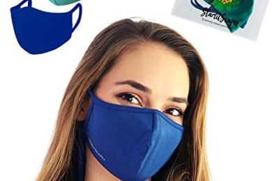 StarlitScapes (1 Blue & 1 Green) Bamboo Face Masks w/ear loops | Soft, Face-fitted, Breathable, Reusable and Washable Cloth Face Cover | Made in Costa Rica