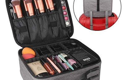 Relavel Travel Makeup Bag Makeup Train Case Cosmetic Storage Box Brush Organizer Professional Makeup Artist Travel Case with Adjustable Compartment Elastic Band for Trolley Case (Gray)