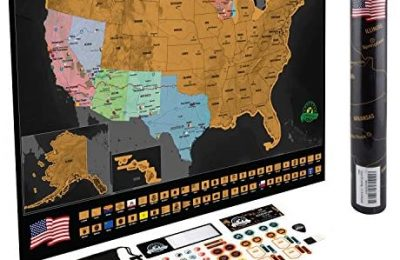 Scratch Off Map of The United States – Deluxe Travel Map with 50 State Flags and Landmarks – Tracks Where You Have been, Full Accessories Set Included, Perfect Gift for Travelers, by Earthabitats