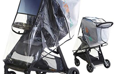 Premium Stroller Rain Cover & Weather Shield, Universal Fit, Safe Durable Clear Plastic by Stroller Buzz