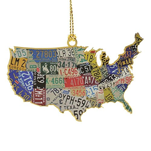 ChemArt USA License Plate Map Ornament