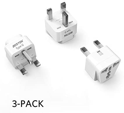 BESTEK UK Travel Plug Adapter Set, Grounded Universal Power Plug Adapter for USA to Type G Countries, UK, Ireland, Hong Kong and More-3 Packs
