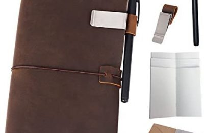 Refillable Leather Journal Travelers Notebook – 8.5 x 4.5 Travel Diary with 5 Inserts + Pen Holder and Binder Clip, Standard Size, Brown