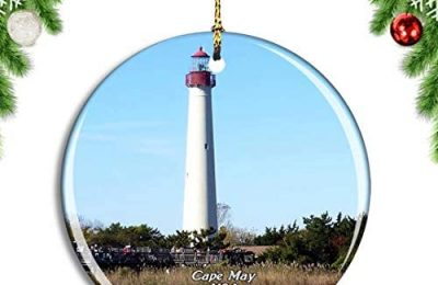 Weekino USA America Cape May Lighthouse Beach Christmas Xmas Tree Ornament Decoration Hanging Pendant Decor City Travel Souvenir Collection Double Sided Porcelain 2.85 Inch