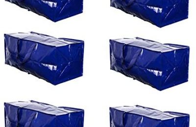VENO Heavy Duty Extra Large Moving Bags W/Backpack Straps Strong Handles & Zippers Compatible with IKEA Frakta Hand Cart, Storage Totes, Alternative to Moving Box, Recycled Material (Blue – Set of 6)