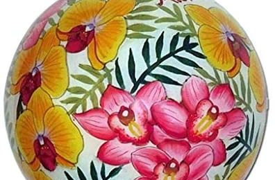 Lovely Hawaiian Orchid Ornament Collectible Hand-Painted Glass with Gift Box Aloha Maui LO/M