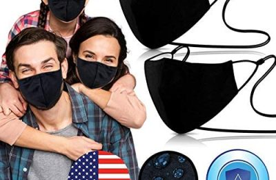 3 Layer Swiss Tech Nano-Zinc Cover [ Pack of 2 – 1-SIZE FITS ALL ] on USA Cotton & Waterproof Fabric with Nose Bridge, Adjustable Strap , Washable & Reusable 40x the Black Cotton Mouth Protection for Men & Women