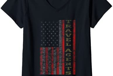 Womens Cool Patriotic Travel Agents USA – US Flag Gift Idea V-Neck T-Shirt