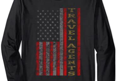 Cool Patriotic Travel Agents USA – US Flag Gift Idea Long Sleeve T-Shirt