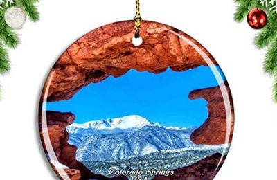Weekino USA America Garden of The Gods Twin Sisters Colorado Springs Christmas Xmas Tree Ornament Decoration Hanging Pendant Decor City Travel Souvenir Collection Double Sided Porcelain 2.85 Inch