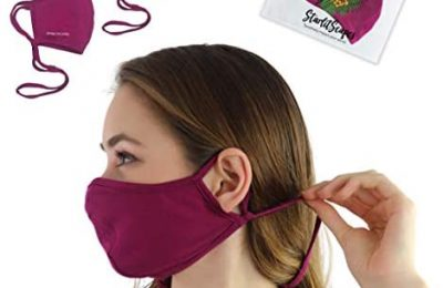 StarlitScapes (2 Raspberry, Large) Adjustable Bamboo Face Masks | Breathable, Face fitting, Colorful, Washable & Soft Face Cover in a travel bag | Made in Costa Rica