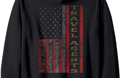 Cool Patriotic Travel Agents USA – US Flag Gift Idea Zip Hoodie