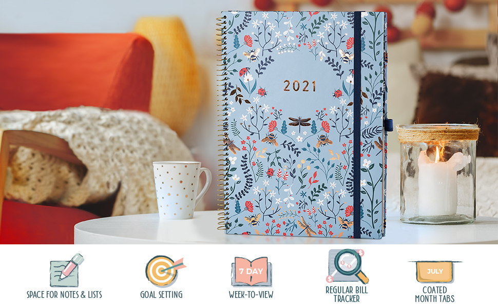 Planner 2021 8.5 x 11'' Weekly Planner Coated Tabs Goal Setting Dot grid note pages planner stickers