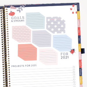 2021 Weekly planner Personal Goals Dreams Targets Focus Projects Checkboxes Coated Tabs Pen Loop