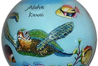 Collectible Handpainted Kauai Sea Turtles and Tropical Fish Christmas Ornament HF/K