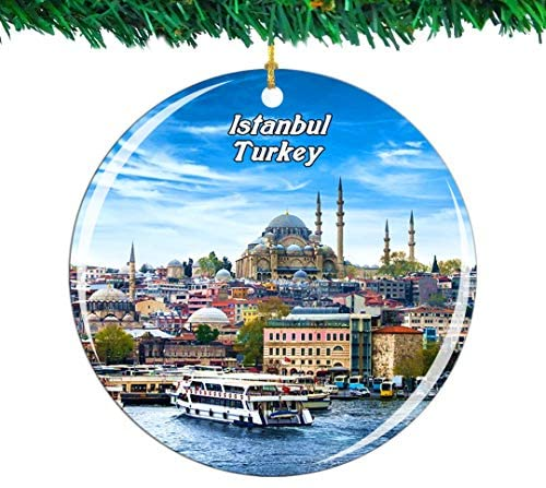 Weekino Turkey Istanbul Christmas Ornament City Travel Souvenir Collection Double Sided Porcelain 2.85 Inch Hanging Tree Decoration