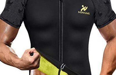 NINGMI Sauna Suit for Men Hot Sweat Suit Sauna Shirt Sweat Body Shaper Workout Neoprene Suit Zipper Short Sleeve