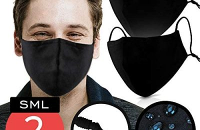 Black Cotton Mouth Cover – Pack of 2 – FITS ALL ADULTS – Waterproof & Coated with Swiss AG Nano Tech on USA Satin Cotton with Nose Bridge, Adjustable Strap , Washable & Reusable 40x for both Men & Women