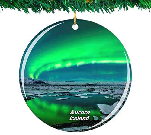 Weekino Iceland Aurora Christmas Ornament City Travel Souvenir Collection Double Sided Porcelain 2.85 Inch Hanging Tree Decoration