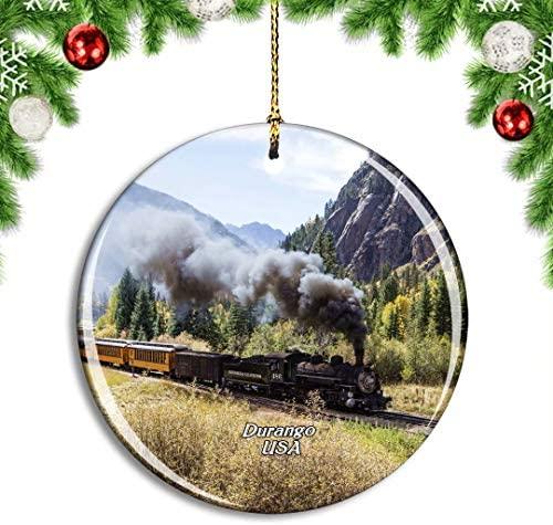 Weekino USA America Durango Colorado Steam Locomotive Christmas Xmas Tree Ornament Decoration Hanging Pendant Decor City Travel Souvenir Collection Double Sided Porcelain 2.85 Inch