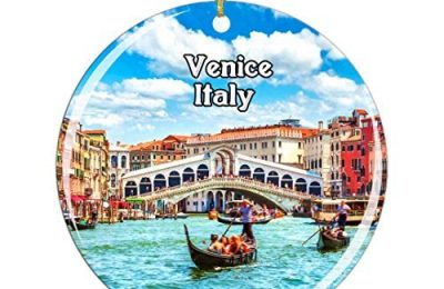 Weekino Italy Ponte Rialto Venice Christmas Ornament City Travel Souvenir Collection Double Sided Porcelain 2.85 Inch Hanging Tree Decoration