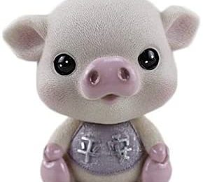 Wedare Cute Mini Pig Baby 3D Resin Home Desktop Table Car Decoration Ornament Cake Decor Collection (Pink Open Eyes)