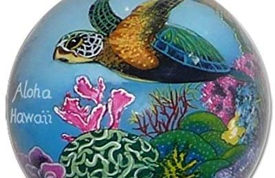 Collectible Hawaiian Christmas Ornament: Corals and Sea Turtles CW/H