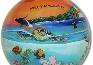 Collectible Hawaiian Glass Ornament with Gift Box Hand Painted Sea Turtles in The Sunset