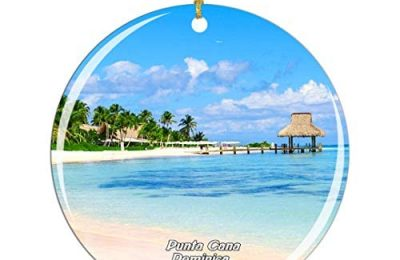 Weekino Saona Island Punta Cana Dominica Christmas Ornament City Travel Souvenir Collection Double Sided Porcelain 2.85 Inch Hanging Tree Decoration