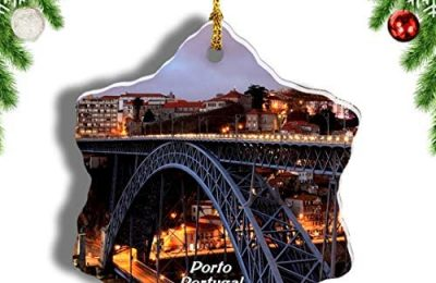 Weekino Portugal Bridge of Dom Luis I Porto Christmas Ornament Travel Souvenir Tree Hanging Pendant Decoration Porcelain 3″ Double Sided
