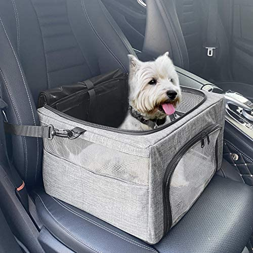 SlowTon Dog Booster Car Seat, 2020 New Reinforce Metal Frame Pet Car Seat   Safer Travel with Top Cover & Seatbelt   Portable Collapsible Puppy Bag   for Small Medium Doggie Cat up to 15lbs