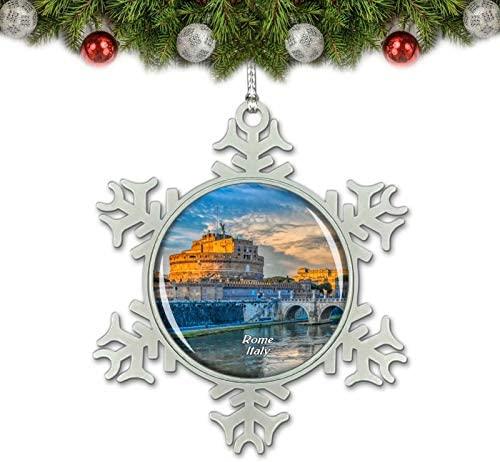 Umsufa Italy Castel Sant'Angelo Bridge Rome Christmas Ornament Tree Decoration Crystal Metal Souvenir Gift