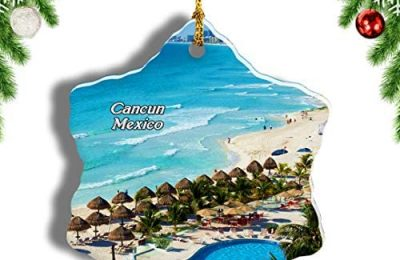 Weekino Mexico Cancun Christmas Ornament Travel Souvenir Tree Hanging Pendant Decoration Porcelain 3″ Double Sided
