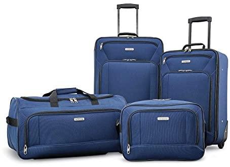 American Tourister Fieldbrook XLT Softside Upright Luggage, Navy, 4-Piece Set (BB/DF/21/25)