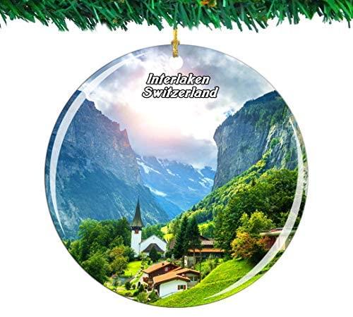Weekino Switzerland Staubbach Falls Interlaken Christmas Ornament City Travel Souvenir Collection Double Sided Porcelain 2.85 Inch Hanging Tree Decoration