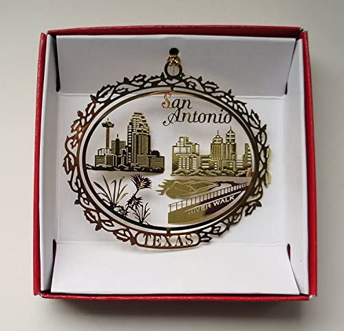 San Antonio Texas Brass Christmas Ornament Souvenir Gift River Walk City Skyline