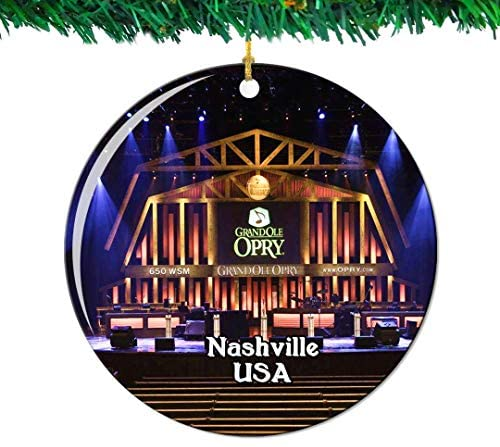Weekino Grand Ole Opry Nashville America USA Christmas Ornament City Travel Souvenir Collection Double Sided Porcelain 2.85 Inch Hanging Tree Decoration