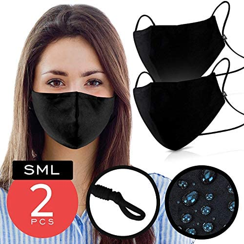 Black Cotton Mouth Cover – Pack of 2 - FITS MOST ADULTS – Waterproof & Coated with Swiss AG Nano Tech on USA Satin Cotton with Nose Bridge, Adjustable Strap , Washable & Reusable 40x for both Women & Men
