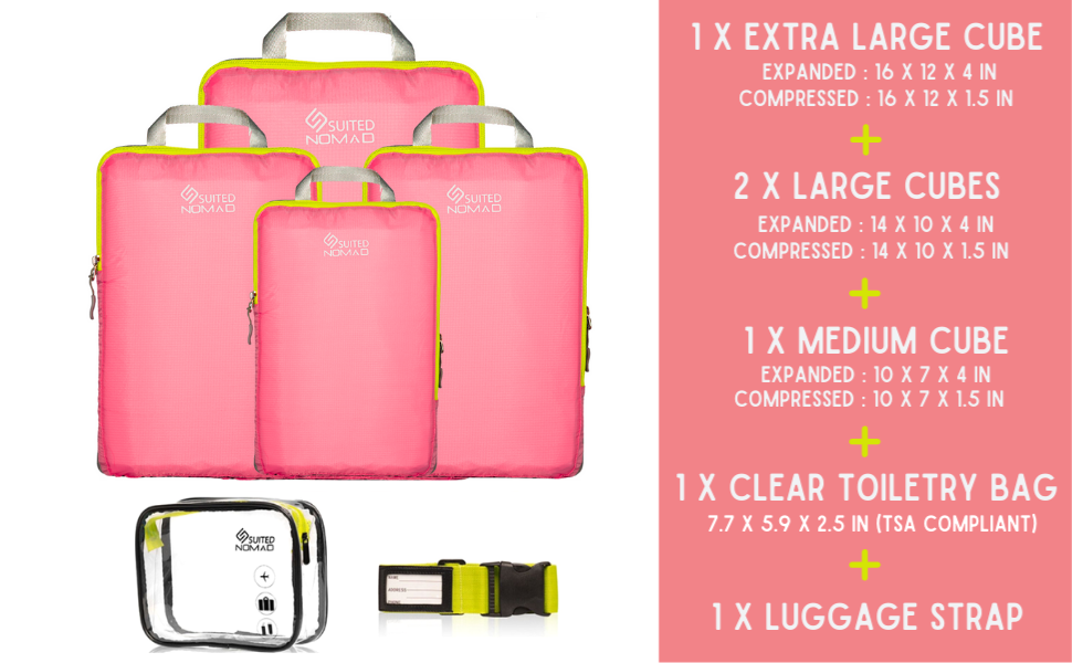 compression packing cubes pink travel organizer women girls bags traveling gear nomad suitednomad