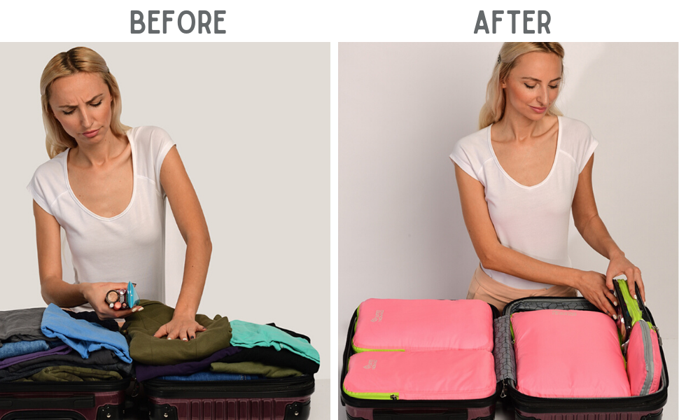 packing tips travel organizer pink cubes suitcase luggage clothes compression carry on bags