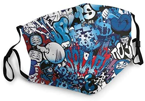 BSUDILOK Face Cover Street Culture Wall Graffiti Graphic Themed Men Women Face Decoration for Outdoor Sports Daily Travel Camouflage
