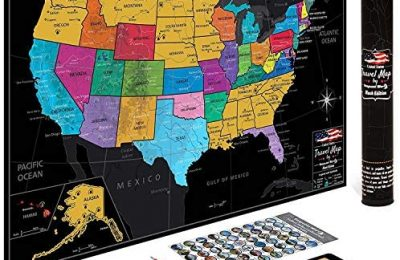US Map w/ Scratch Off Ink by VespucciWorld (24×17″ Glossy Laminated) Beautiful Wall Poster to Show Off Your United States Travel Destinations – Unique Accessories Set & 54 USA Landmarks Ebook