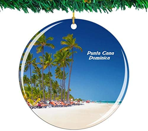 Weekino Bavaro Beach Punta Cana Dominica Christmas Ornament City Travel Souvenir Collection Double Sided Porcelain 2.85 Inch Hanging Tree Decoration