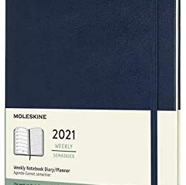 Moleskine 12 Month 2021 Weekly Planner, Hard Cover, XL (7.5″ x 9.5″) Sapphire Blue, DHB2012WN4Y20